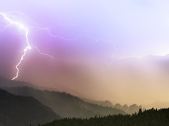 Dawn Storm, Sequoia National Park, California, USA (weesam2010) Tags: california park pink sky usa storm mountains rain clouds forest landscape dawn rocks purple nevada magenta sierra telephoto national strike layers lightning hillside electrical sequoia forests forested