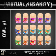 [THRIFT SHOP] EXCLUSIVE - OWL #1 appliers for Maitreya ([VIRTUAL/INSANITY] / Loviathar Hellman) Tags: life new roses rose cigarette nail nails secondlife virtual cig owl second manicure insanity mermaid cheap exclusive owls bargain thriftshop virtualinsanity gacha depravednation