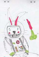 Ficcionauta (O Ficcionista) Tags: rabbit alone sad astronaut sketchbook carrot rocket draw coelho sorrow desenho cenoura foguete sketche