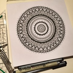 Black & White Zendala (marusaart) Tags: art illustration sketch artist drawing mandala doodle ornament zen draw copic zeichnung zendala marusaart