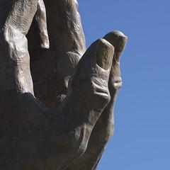 2 thumbs up (Pejasar) Tags: state sculpture prayinghands oru closeup bluesky twothumbsup thumbs fingernails bronze tulsa oklahoma