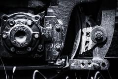 Bearings and Brake (PAJ880) Tags: emd gp7u truck brearings hyatt brakes wheel bw mono locomotive canaan ct detail housatonic rr co