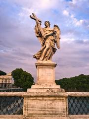 Angelic - iPhone (Jim Nix / Nomadic Pursuits) Tags: iphone travel europe italy rome bridge bridgeofangels angel statue sculpture bernini castelsantangelo sunset river tiber jimnix