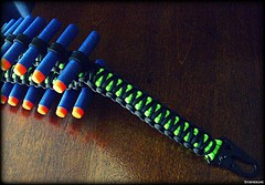 Paracord Nerf Bandolier (Stormdrane) Tags: nerf paracord bandolier 550cord 38 elastic webbingelitedartsneon green black blue orange gun pistol rifle ammo ammunition foam plastic hobby craft diy make