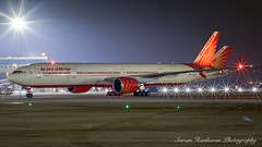 "VT-ALL Air India Boeing 777-337(ER) - c/n 36310 ""Goa"" (Sri_AT72 (Sriram Hariharan Photography)) Tags: air india boeing 777 777300 extended range er 77w 777337er vtall goa aviation photography plane spotting passion night airside love aircraft avgeek geek mumbai chhatrapati shivaji international airport bom vabb csia ewr newark liberty usa october 2016"