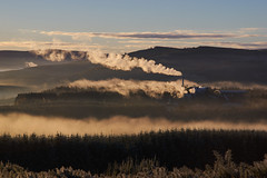 Steaming Sunrise (Donald Beaton) Tags: uk scotland moray morayshire rothes craigellachie speyside forest estover macallan chp hills sunrise trees power station steam mist frost cold morning october 2016 landscape scene sky sony a7