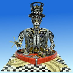 LEGO Steampunk, Unchain My Heart (Brickbaron) Tags: steampunk brickcon 2015 bestinshow surrealism art lego moc checkers robot automaton mechanical heart chains sand tophatdali valentines face humanoid love