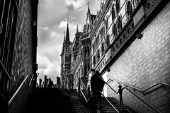 He rose from the shadows (EyeOfTheLika) Tags: ifttt 500px monochrome street architecture city people black white building travel urban light outdoors shadow old lika london kings cross photography silhoutte train station stairs perspective contrast