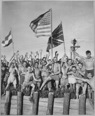 #Allied prisoners of war at Aomori Camp in Japan waving the United States, Great Britain, and the Netherlands flags in celebration of their nations' victory and their own release from captivity (August 1945) [2452 x 3000] #history #retro #vintage #dh #His (Histolines) Tags: histolines history timeline retro vinatage allied prisoners war aomori camp japan waving united states great britain netherlands flags celebration their nations victory own release from captivity august 1945 2452 x 3000 vintage dh historyporn httpifttt2gllzo2