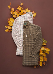 Padded Country Check Shirts on Autumn Leaves (AlexanderMoore) Tags: product gift christmas commercial studio table tabletop arrangement festive season present rydale country clothing yorkshire fashion leaves autumn orange shirt check padded