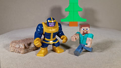 The Blue Bopper and Steve (Busted.Knuckles) Tags: home toys linco minecraft minifigures bluebopper steve ricohgr dxoopticspro11