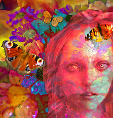 Tuned In and Turned On - Remembering '67 (virtually_supine) Tags: mixmaster12 cheftemari09 bethsbirthday face woodnymphbyjinglekoatdeviantart warmcolours vividcolours bright butterflies raindroplets water collage montage psychedia flowers diaisies dahlias fantasy abstract expressionist layers textures photomanipulation creative digitalartwork photoshopelements13mac