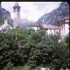 img170 (foundin_a_attic) Tags: switzerland july 1975 blury chuch bell tower clock trees chalet swiss mountain