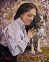 Helen Keller and her Dog (kevin63) Tags: lightner painting woman famous helenkeller blind deaf dog 1900s white blouse