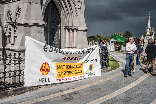 GLASNEVIN CEMETERY [NO IDEA WHY THIS PROTEST BANNER WAS HERE] REF-107430