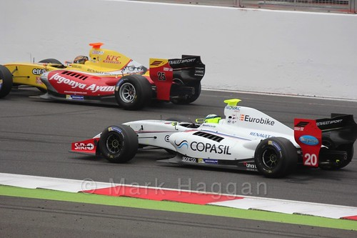 Bruno Bonifacio and Sean Gelael on the Grid for the Formula Renault 3.5 Saturday Race at Silverstone