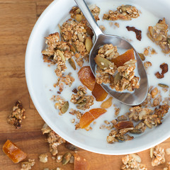 Granola (Don_Arturrrooo) Tags: food home cooking breakfast milk healthy bre made eat foodporn homemade slowfood granola styling breakfest jedzenie jogurt mleko sniadanie zdrowie zdrowe