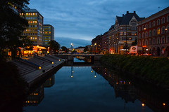 Morning in the city [Explored 2015-10-13] (Maria Eklind) Tags: street city bridge autumn light sky water reflections skåne europe sweden outdoor malmö streetview buidlings citylight södertull