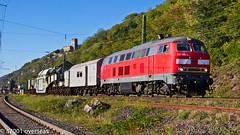 ELBA 218 399 and trafowagen (transformer) at Kaub (37001 overseas) Tags: train wagon elba transformer rail railway locomotive rhine rhein gterzug kaub class218 218399 trafowagen amprion 2183994 elbalogistik