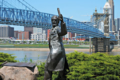 Roebling and his suspension bridge (Marked_man) Tags: bridge ohio sculpture art history statue architecture brooklyn design artwork model memorial suspension kentucky cincinnati engineering historic riverfront longest statuary covington roebling thebanks
