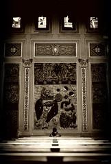 Introversione (Danilo Mazzanti) Tags: liguria chiesa genova solitario interni simmetria danilo composizione seppia arenzano mazzanti panche drammatico bambinodipraga danilomazzanti wwwdanilomazzantiit