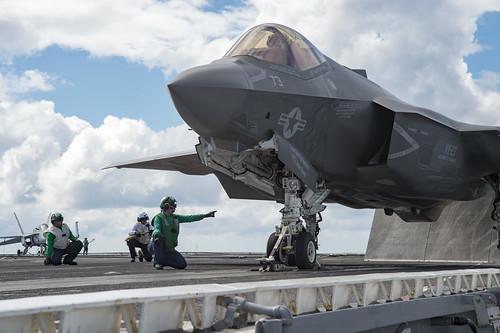 An F-35C Lightning II is tested aboard USS Dwight D. Eisenhower.