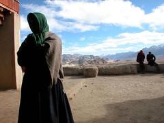 Waiting to Enter for Worship - Tiske Monastary, Leh, Ladakh, India