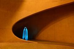 (palateth) Tags: blue shadow portrait orange lightpainting architecture night concrete belgium belgique belgie ghost ig lightart
