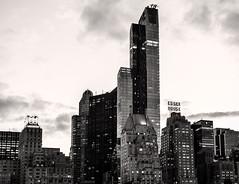 Towers On Central Park South (LJS74) Tags: nyc newyorkcity blackandwhite bw monochrome skyline skyscraper cityscape manhattan midtown essexhouse hampshirehouse one57