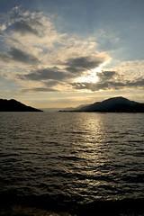 Sunset  in the Onoseto Straight (Jez B) Tags: sunset sea cloud water japan ferry boat ship great hiroshima straight torii itsukushima 2015 miyajimaguchi