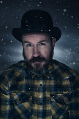 It's cold outside (Nigel grieves) Tags: portrait selfportrait snow cold me composite canon lights flash portraiture bowlerhat strobe selfie catchlights beared speedlites 5dmkiii