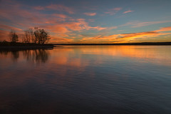 Starting the Day (mclcbooks) Tags: sunrise dawn daybreak sky morning landscape seascape clouds reflections trees silhouettes lakechatfield chatfieldlakestatepark colorado autumn fall