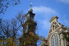 spire (coffeebucks) Tags: amsterdam church westerkerk autumn sky spire clock weathervane tree