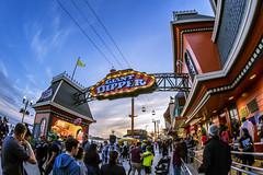 Giant Dipper (matman73072) Tags: santacruz boardwalk amusementpark rides rollercoaster giantdipper sunset bluehour fisheye crowd