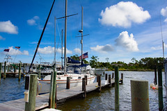 Clouds Over Manteo Harbor (Donald.Gallagher) Tags: bbf blue boat clouds manmadeobject manteo nc nature northamerica northcarolina obx outerbanks outerbanx roanokeisland summer typebackbuttonfocus typecolor typewideangle usa waterfront weather white