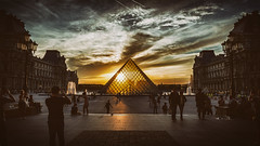 Louvre Paris (paradycedesign) Tags: louvre paris pyramide france francais baguette croissant eau de cologne parfum museum mona lisa artists art sunset sun blue hour dark clouds