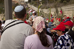 MAB_110417_7040 (Custody of the Holy Land - Photo Service (CPS)) Tags: holyland holyweek jew jews mountofolives mtofolives palmsunday terrasanta terresainte crowd girl judaism kipa kippa palm palms people pilgrims procession tourists woman