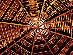 barn geometrics... (BillsExplorations) Tags: barn barnsandfarms roundbarn octagonal secrestbarn historic old vintage architecture geometry farm ruraldecay rural stairs westbranch iowa
