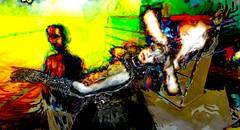 Strange hat woman (Bamboo Barnes - Artist.Com) Tags: surreal secondlife digitalart warehouse mannequin light shadow photo painting red black vivid avatar woman hat white yellow green bamboobarnes