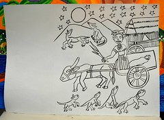 Oaxaca Death Cart Mexico Drawing (Ilhuicamina) Tags: death muerte cart dogs zapotec folktales drawings art oaxacan mexican dayofthedead jalieza
