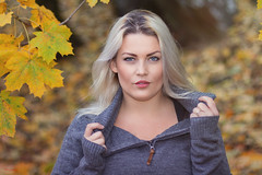 (yvind Bjerkholt (Thanks for 32 million+ views)) Tags: blonde jumper autumn leaves vivid beautiful gorgeous pretty sexy woman girl female she canon 50mm bokeh feminine classy beauty eyes look arendal norway