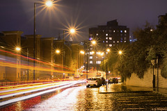 On The Trail (whistlingtent) Tags: nightime night shoot light trails newcastle upon tyne horatio street cobbles shining wet rain soaked parked cars burst architecture quayside