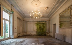Green With Envy. (5PR1NK5 Photography  Off The Beaten Track Urban) Tags: urban exploration urbex abandoned manor house home stately mansion chateau forgotten derelict decay decaying mold rot moss green ceiling rose ornate plaster work coving molded wood panelled mirror light bulb brass chandelier pillar decorative cast iron radiator power grandeur window shutters beauty canon photography 5pr1nk5 explore discover adventure secca security