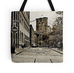 Brooklyn Bridge Tote Bag (Manhattan Girl) Tags: nyc urban sepia brooklyn vintage retro brooklynbridge backtoschool totebag shellykayphotography