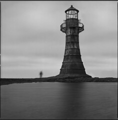 your daily dose of lighthouse (steve-jack) Tags: south wales uk hasselblad v 501cm medium format film 120 perceptol blackandwhite bw epson v500 6x6 gower
