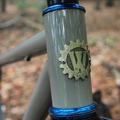 A shot of my redesigned head badges from @jengreenheadbadges #weavercycleworks #custombicycles