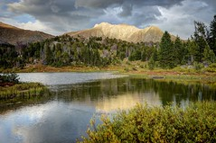 Mount Washakie and Skull Lake (Sierralara) Tags: travel camping wild usa mountain lake mountains water beauty forest river walking outdoors scenery wind map hiking exploring scenic spot explore climbing national backpacking mountaineering wyoming gps wilderness winds bridger popo agie