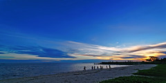 850C9987 - A walk to hanger (Zoemies...) Tags: ocean blue sunset sky people beach nature indonesia landscape evening walk hanger balikpapan kimala