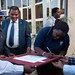 Signing the pledge of commitment on eradicating polio at the launch of the Polio NIDs Campaign in Jijiga
