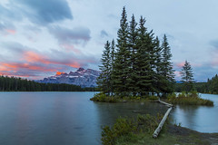 Two Jack Lake Sunrise HDR (Caitlin Sparks) Tags: park two lake canada mountains sunrise jack national alberta banff